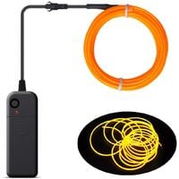 Christmas Decoration - Portable EL Wire, Neon Rope Lights with Battery, Glowing Strobing Flashing Electroluminescent Cable For Halloween Cosplay Christmas Dress Carnival Party Festival Decoration - Pumpkin (3M)