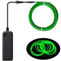 Christmas Decoration - Portable EL Wire, Neon Rope Lights with Battery, Glowing Strobing Flashing Electroluminescent Cable For Halloween Cosplay Christmas Dress Carnival Party Festival Decoration - Emerald Green (3M)