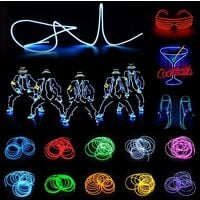 Christmas Decoration - Portable EL Wire, Neon Rope Lights with Battery, Glowing Strobing Flashing Electroluminescent Cable For Halloween Cosplay Christmas Dress Carnival Party Festival Decoration - Pumpkin (5M)