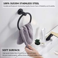Black 304 Rubber Wall Mounted Towel Ring