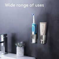 Electric Toothbrush Holder, Wall Toothpaste Organizer Self-Adhesive Stainless Steel Multifunctional Holder of 2 Accessories for Bathroom and Kitchen