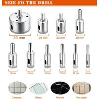 Diamond Drill Bit, Hole Saw Drill Bit Accessory Set for Glass / Tile / Ceramic / Marble / Porcelain Cutting, Core Barrel Bits Cutter with EN Stainless Steel Carbon 8-50mm 10pcs