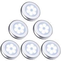 LangRay LED Closet / Cabinet Light, 6pcs Cabinet Lights Nightlight, LED Motion Sensor Light with Magnetic Base, for Staircase Kitchen Showcases Cabinet (Battery Powered) Silver White Light
