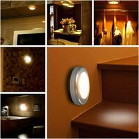 LangRay LED Closet / Cabinet Light, 6pcs Nightlight Cabinet Lights, Motion Sensor LED Lighting with Magnetic Base, for Staircase Kitchen Showcases Cabinet (Battery Powered) Silver Warm Light