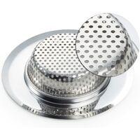 LangRay Drain Strainer Set of 2, Ø 11.5cm Stainless Steel Kitchen Sink Shower Tub Drain Sink Filter Strainer, 2 Piece / Sets Drain Strainer