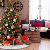LangRay Plush Christmas Tree Skirt, 3 ft. Snow White Faux Fur Fir Foot Cover for Christmas Holiday Decorations