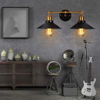 LangRay Wall Lamp Loft Modern Vintage Industrial Metal Veneer Double Rustic Wall Sconce Light for House Decor Without Bulb, Black [Energy Class A +]