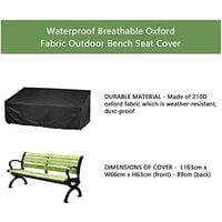 LangRay Protective Cover for 3 Seater Garden Bench, Outdoor Waterproof Bench Cover 210D Oxford Cloth Anti-UV Protection Cover for Bench Armchairs Bench Cover (164x66x63 / 89cm)
