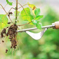 LangRay Manual Weed Killer Tool Stainless Steel Weed Gouge with Wood Handle