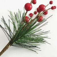 LangRay 10 pcs Christmas Berry Picks Pine Cones and Red Berries Floral Picks for Christmas Decorations