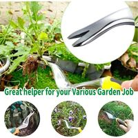 LangRay Manual Weed Extractor, Aluminum Alloy Tool Garden Weeder with Ergonomic Handle for Removing Dandelions and Other Weeds