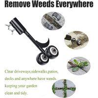 LangRay Patio Weed Tool with Wheels, Garden Weed Tool, Kneeling Free Weed for Cleaning Between Slabs, Blocks, Patios and Lawns