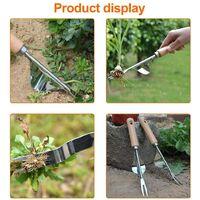LangRay Manual Weed Killer Tool Stainless Steel Weed Gouge with Wood Handle Garden Weed Tool, 2 Types Garden Weed Killer Handy Tool (B)