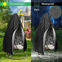 Patio Hanging Egg Chair Cover , Waterproof Outdoor Swing Cocoon Egg Chair Cover with Zipper&Drawstring , 210D Oxford Fabric Heavy Duty Windproof Anti-Dust Veranda Garden Furniture Protector 230x200cm