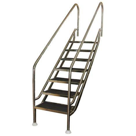 Escalera fácil acceso 6 peldaños de plástico antideslizante. Adaptable en altura para rango de profundidad 1390-1590 mm