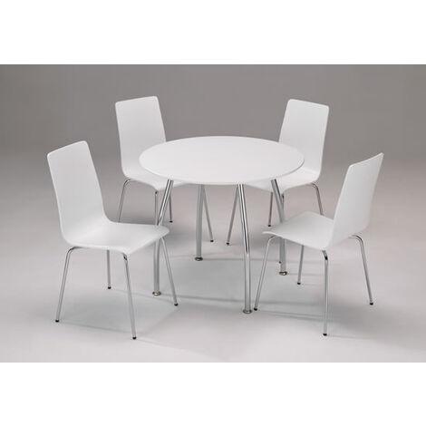 Lingham White Wood Set Chrome Legs Circular Round Table 4 Chairs