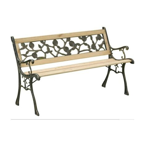 Rosa 3 Seater Garden Bench - Wood And Cast Iron