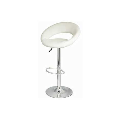 Saturn White Bar Stool Moon Faux Leather Height Adjustable