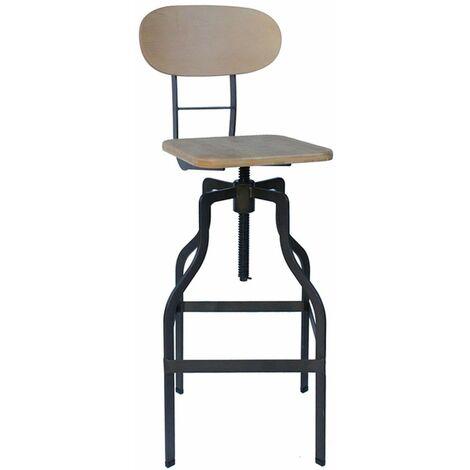 Zapopi Industrial Adjustable Bar Stool -