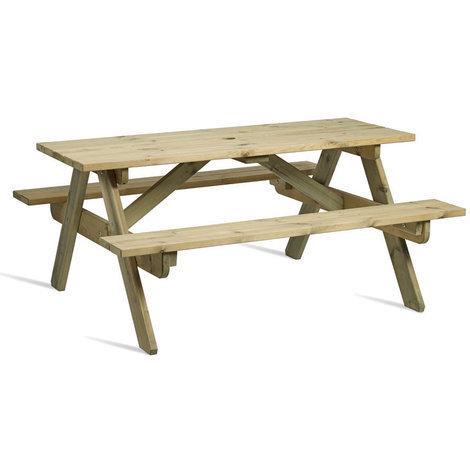 Zepini Picnic Garden Table Bench - Seats 6
