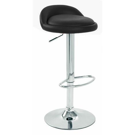 Gaor Adjustable, Black Breakfast Bar Stool - Faux Leather, Padded Swivel Seat