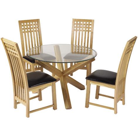 Opodo Round Table Glass Top Oak Legs