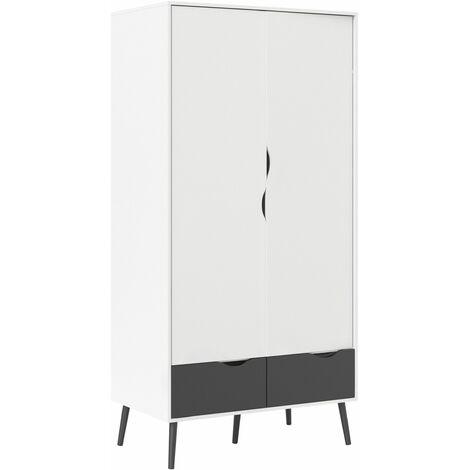 Solo Wardrobe 2 Doors 2 Drawers In White Black Matt