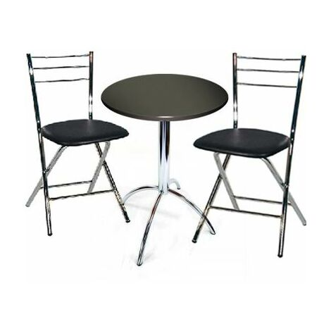 Table Set Chrome Frame 2 Folding Chairs, Small Round Black Kitchen Table And Chairs