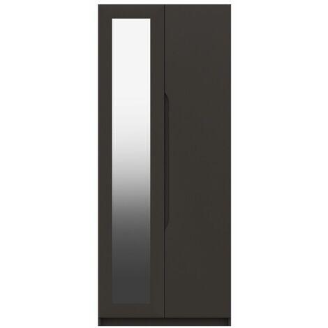 Sinata Two Door Gloss Mirror Wardrobe Graphite Gloss 1830 mm 760 mm 515 mm Gloss