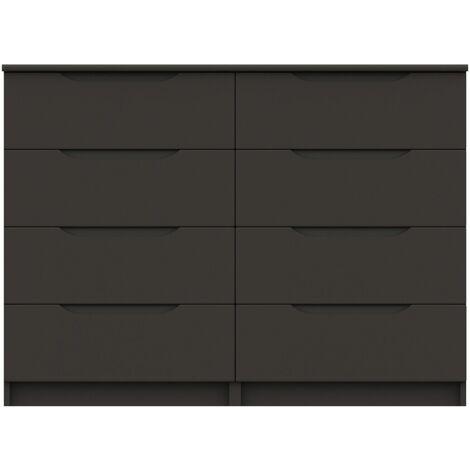 Sinata Gloss 4 Drawer Double Chest Graphite Gloss 908 mm 1210 mm 400 mm Gloss