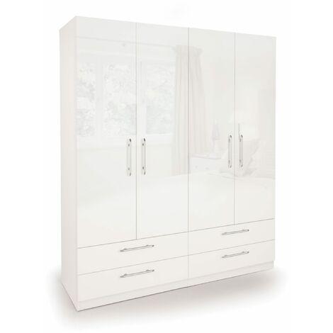 Corisal Gloss Bedroom Double Combi Wardrobe Oak Frame White High Gloss White