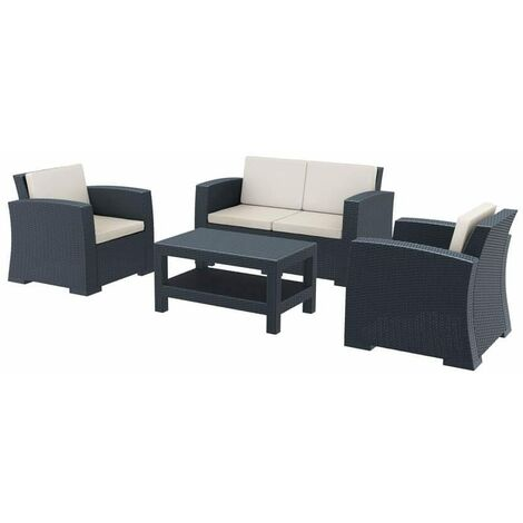 Monica Rattan Lounge Set - Dark Grey