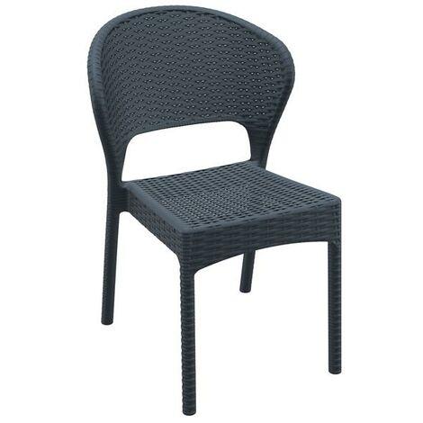 Daton Rattan Side Chair - Dark Grey