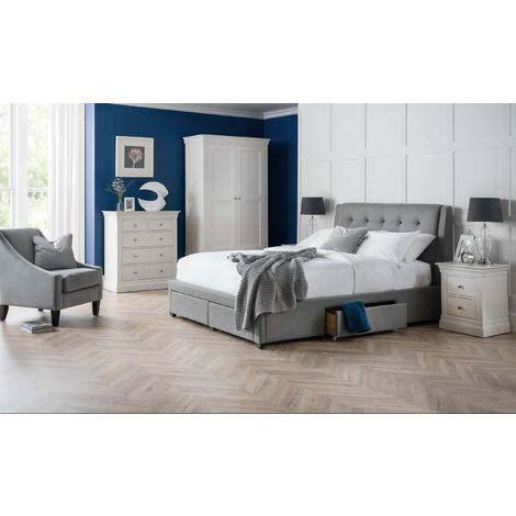 Camperton 4 Drawer Bed Grey Linen Black Legs Grey Hardwood Frame With Foam and Linen Fabric Upholstery 1130 mm 1610 mm 2120 mm2220 mm