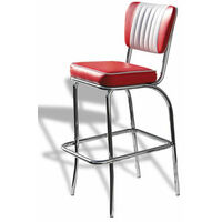 Carolina Quality Retro Padded Kitchen Bar Stool Chrome Legs Pre Assembled Red Chrome