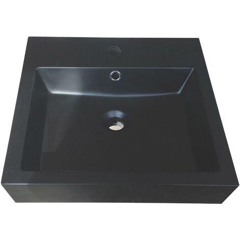 Vasque carré à poser RAISSA - Noire - 45x45cm - Résine - Avec trop plein
