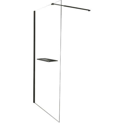 Paroi INDUS - Paroi 90x200x0,8cm - Verre trempé - Tablette - Finitions noir mat