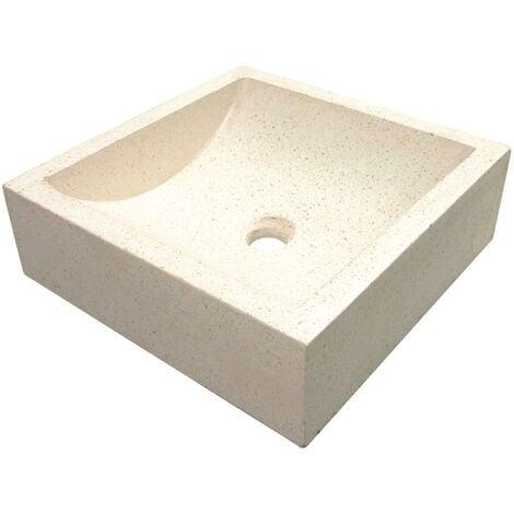 Vasque carrée à poser KIARA - Crème - 40cm - Terrazzo - Sans trop plein