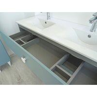 Meuble à poser NEMOO plan vasque - L120cm - Vert d'eau - Laqué - Livré en kit