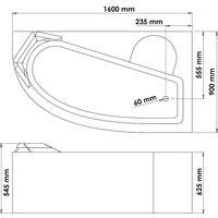 Tablier de baignoire Droite FANY - Tablier motif vague 160x90cm - ABS - Blanc