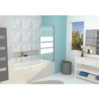 Pare-baignoire MISSI 1V - Paroi 80x140x0,4cm - Verre trempé - Finition blanc