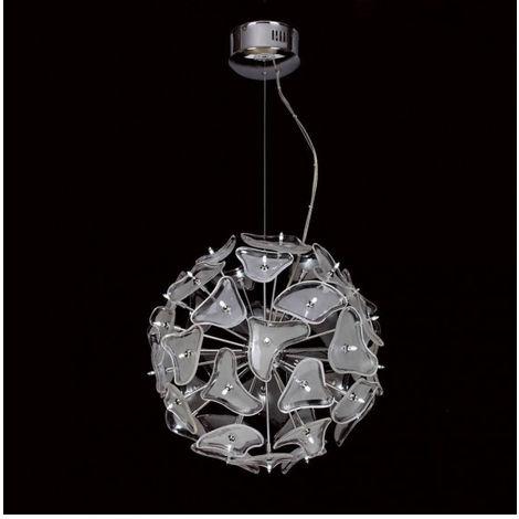 Suspension Otto 41 Ampoule G4 Sphere, chrome poli/verre dépoli