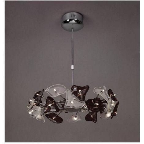 Suspension Otto 24 Ampoules G4 Ring, chrome poli/verre dépoli/verre noir