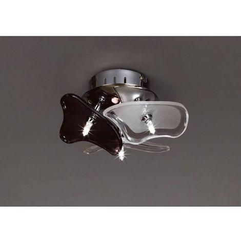 Plafonnier/Applique Otto 3 Ampoules G4 rond, chrome poli/verre dépoli/verre noir