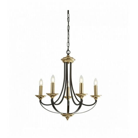 Suspension beffroi 5 ampoules bronze foncé et marron