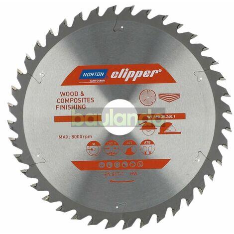 Norton Clipper LAMES POUR SCIES CIRCULAIRES / SCIES SUR TABLE, Bois 165x20 64Z