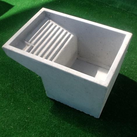 Vasca Lavatoio Da Esterno.Vasca Con Lavatoio Pilozzo Uso Lavanderia In Cemento Grigio 73x43xh35 10953