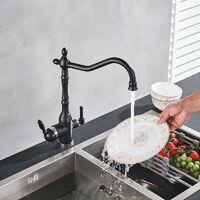 Grifo Osmosis Inversa 3 vías de diseño antiguo - Color Negro