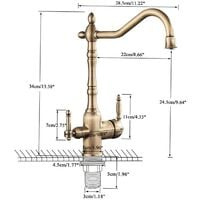Grifo Osmosis Inversa 3 vías de diseño antiguo   Latón Antiguo