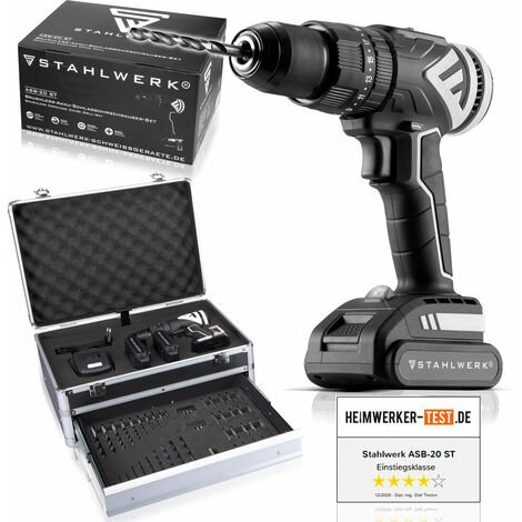 STAHLWERK Brushless Cordless Drill 20V wear-free motor without carbon brush including 2 x 2 Ah batteries charger case 2 gears 7 year guarantee